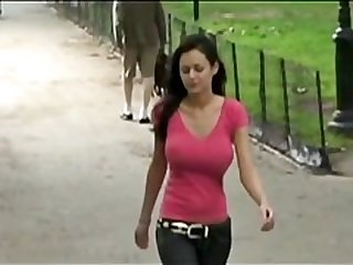 bouncing in the park - skiny brunettes teen model